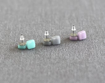 Muted Tones Earrings Set - Glass Stud Surgical Steel Earrings Set - Grey\Teal\Lilac - Gift for her - Gift for Mum - UK Seller