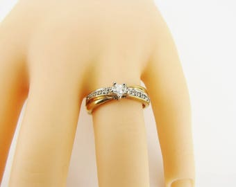 Star Engagement Wedding Promise Ring Sterling Silver Gold Vermeil Crystal Ring Fashion Ring  Size 8 Gifts For Her