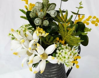 TABLE FLOWERS - Australian Native Flower Arrangement in Vintage Tin Jug - Wedding Centrepiece, Wedding Flowers