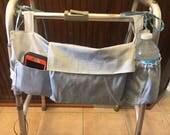 Walker Tote Bag, Walker Caddy, Walker Bag, Walker Purse, Gift for Grandparents, Nursing Home Gift, Elderly Gift, Gray Bag, Father's Day Gift