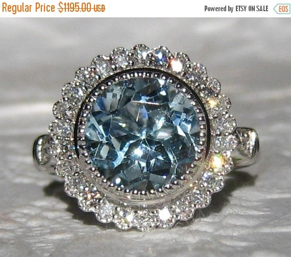 Engagement Ring Memorial Day Sale: Valentine Day Sale... Aquamarine Engagement Ring By