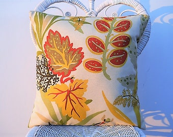 Outdoor Pillow Cover, Pillow Case, Cushion Cover, Mustard Yellow/Red/Brown, Seaweed Floral, 18 Inch Pillow Cover, Sun/Shade Pillow Cover
