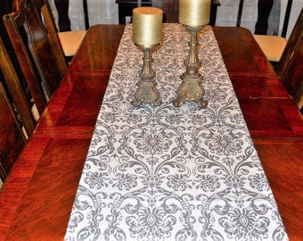 Table Linen, Bed Runner, Gray/White Table Runner, Wedding/Serving, Christmas/Holiday/Dining 16''x104'' Buffet/Banquet/Dresser Scarf
