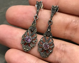 Vintage sterling silver handmade earrings, Mexico 925 silver studs with marcasite drops and amethyst inlay details, stamped 925