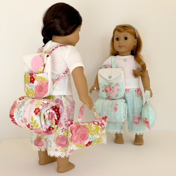Doll SLEEPOVER SET Handcrafted for 18 Inch dolls such as American Girl®  Backpack, bedroll blanket, pillow, pajama set and more accessories!