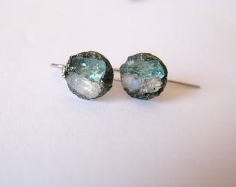 Pyrite earrings-Raw moonstone and Blue Apatite earrings-raw gem silver tone earring-raw gemstone and pyrite earrings