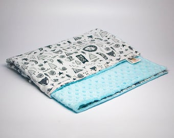 Unisex Baby Blanket on Blue - Black and White Stroller Blanket - Adventure Car Seat Blanket - Travel Baby Blanket - Baby Gift Ideas - Unisex
