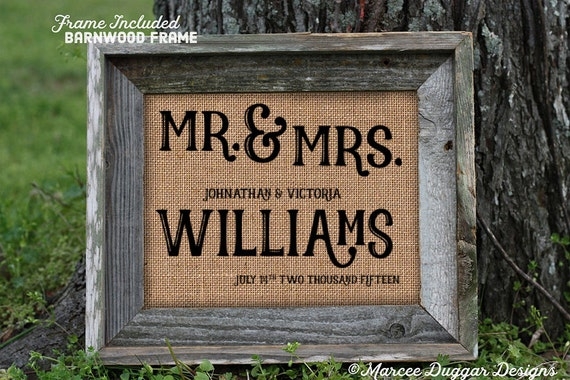 Framed Wedding Gift | Anniversary Gift | Burlap Gift | Couples Names  | Valentines Day | Couple Gift | Personalize | 8x10 | 106