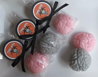 Zombie Party Favors - Zombie Favors, Zombie Party, Zombie Brain, Mad Scientist Party Favors, Brain Soap, Halloween Party Favors - Set of 10