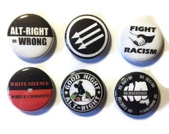 Antifa/Alt Right is wrong set of 6 buttons/badges or magnets