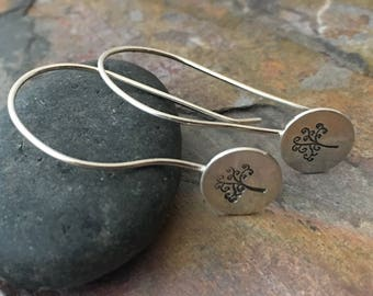 Sterling Silver Earrings || French Hook Ear Wire || Hand Stamped Family Tree || Gift Present for Her