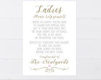 Bathroom Basket Signs For Weddings wedding bathroom printable wedding bathroom sign wedding