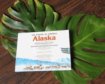 Vintage 1984 Map of Alaska - National Geographic