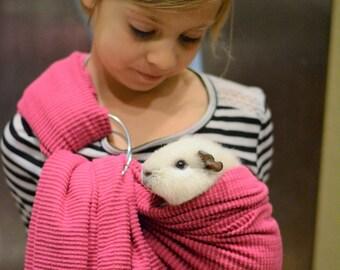 Pink adjustable guinea pig sling small pet carrier