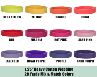 Cotton Webbing, 1.25 inch, 20 Yards, Mix and Match, Heavy Weight, For Webbing Belt, Key Fob, Military Belt, Purse Strap, Canvas Belt, 20125m