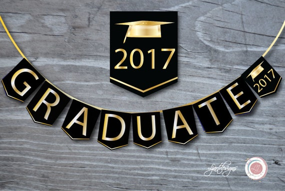 Black and Gold Graduation Banner Graduate Bunting Flags