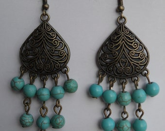 earrings, dangle earrings, chandelier earrings, drop earrings, turquoise earrings, boho chic, boho, bohemian, tribal, bronze findings