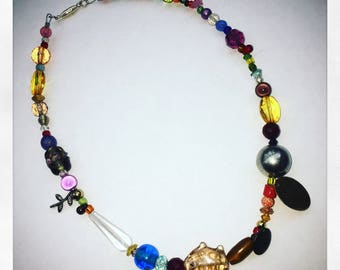 Funky beaded boho necklace