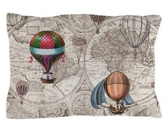 Hot Air Balloon Pillow Case in brown and tan,  map decor  - teal, unique travel, wander, classic,  bedroom, bedding, design