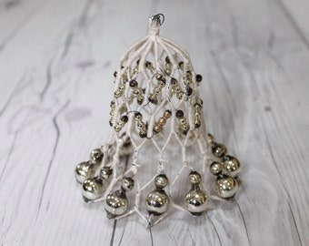 Antique Bell Ornaments - Wire and Silver Mercury Glass Beads, 1920s Wire Christmas Tree Ornaments