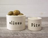 Olives and Pits. Nesting Hand-Built Ceramic Bowls.  In Olive Green.  Olive Bowl.  Pit Bowl.