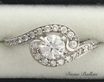 Art Deco 14K White Gold Bypass Style Diamond Engagement Ring