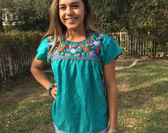 Embroidered blouse, BoHo blouse, small,Oaxaca, Mexican, top, teal green ,blouse