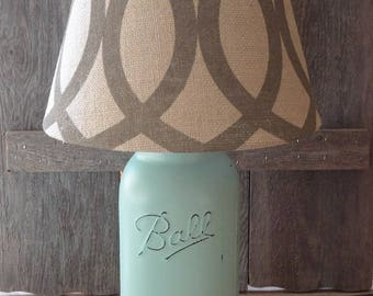 Half Gallon Mason Jar Lamp, Mint Jar Lamp, Rustic Nursery Lamp, Mason Jar Decor, Mason Jar Nursery Lamp, Rustic Lamp, Lamp