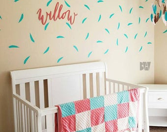 Teal Feather Decals. Feather Wall Decor. Vinyl Decals. Wall Decal. Office Decor. Wall sticker. Home decor decals.