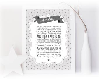 Thank You Dad Personalised Print