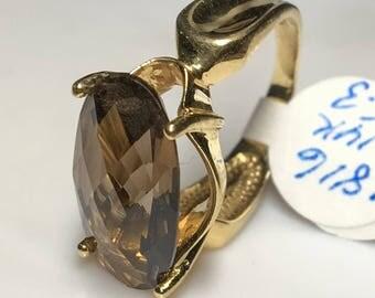 14k Yellow Gold Smoky Quartz Ring