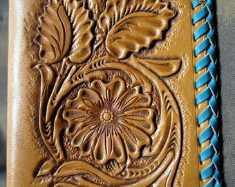 Leather wallet, beautifully hand tooled, travel wallet, Western wallet, women's wallet, basket weave, gift for her, best friend gift