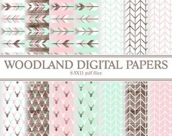 Instant Download Pink Mint Girl Woodland Digital papers ( PDWSI201 )