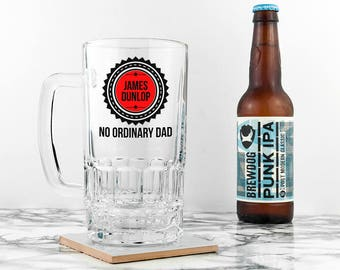 Personalised No Ordinary Dad Beer Glass Tankard - For Dad - Father's Day Gift - World's Best Dad - Ale - Larger - Stein - FREE UK DELIVERY!