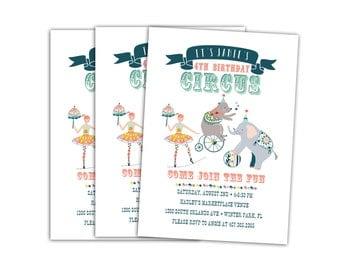 Circus Invitations // Circus Birthday Party Invitations // Childs Birthday Party Invitation // Printable Circus Party Invitation // Janie