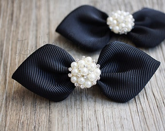 Set of 2 - Black Bows with Pearl Rhinestone Center - Grosgrain Black Unfinished Hair Bows - Black Ribbon Bows - Headbands Supplies
