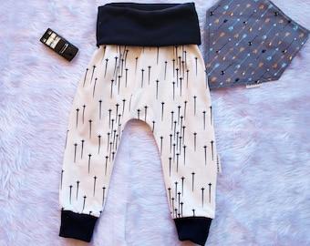 Baby boys pants, Baby boys harem pants, boys pants, Aztec Arrows, baby pants size 3 months, size 6 months,Boys pants size 1.FREE BIB