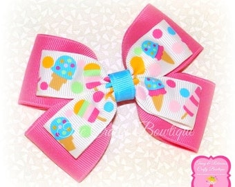 Ice Cream Hair Bow ~ Hot Pink & Blue Bow ~ Sweet Treats Bow ~ Popsicle Hair Bow ~ Large Ice Cream Bow ~ Ice Cream Headband Bow ~ Hot Pink