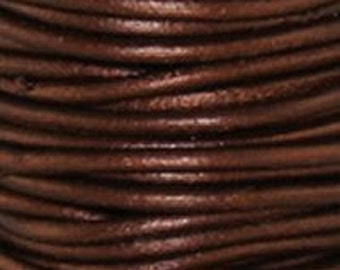 Metallic Tampa - 1.5 mm Round Leather Cord - By The Yard