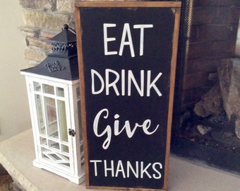 Kitchen Wood Sign, Farmhouse Wall Decor, Wood Sign with Sayings, Reclaimed Wood Sign, Farmhouse Wood Sign, Rustic Kitchen Decor, Give Thanks