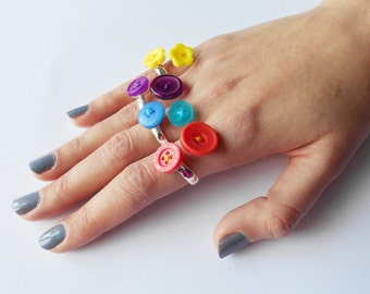 Double Button Rings, Friendship Token, Female Lover Present, Colourful Jewelry, Gift Boxed Inclued, Small Token of Love, Crazy and Unique