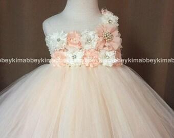 Flower girl tutu dress in ivory and peach