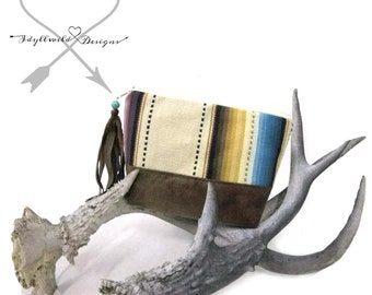 Dayden Zip Pouch in Ivory Southwest, Coin Purse, Tribal Coin Purse, Boho Coin Pouch
