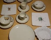 """ustom order 2 setting dinner set """"Chitins Gloss"""" with fruits / vintage porcelain handpainted with ants"""