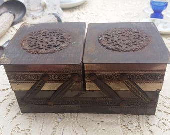 Unusual two tiered tin box