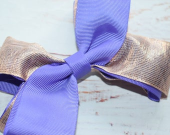 Purple and bronze bow headband - Baby / Toddler / Girls / Kids Headband / Hairband / Hair bow / Barrette / Hairclip