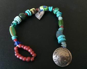 JES MaHarry Trade Bead Bracelet Buffalo Head Nickel Signed on Heart Charm Sundance Catalogue