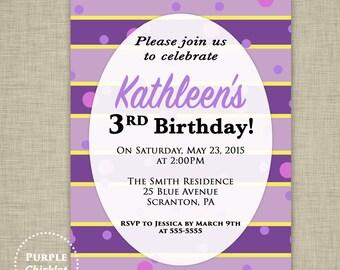Kids Birthday Invitation Purple Invite Yellow Invite Stripes dots confetti Party Invite 5x7 Printable 355