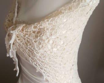 Bridal shawl, wedding shawl, bridal wrap, cream shawl, crochet shawl, delicate shawl, ivory shawl, ladies shawl, IN STOCK