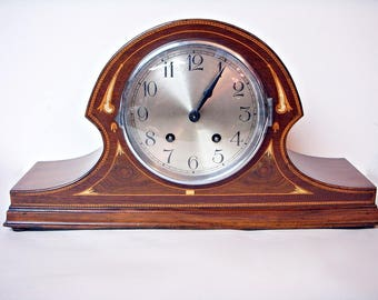 TAMBOUR MANTEL CLOCK Inlaid Art Deco